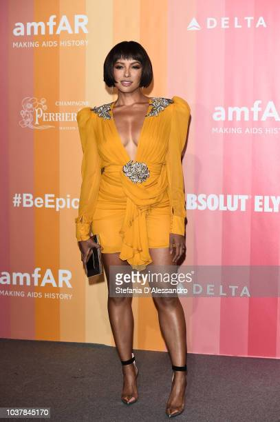 Kat Graham walks the red carpet ahead of amfAR Gala at La Permanente on September 22 2018 in Milan Italy