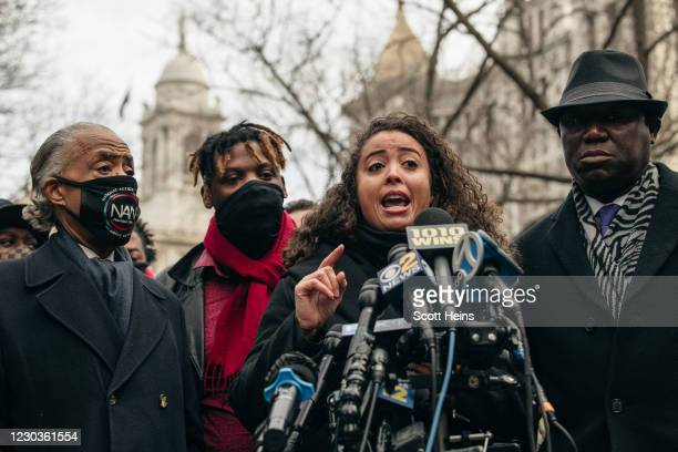 Kat Harrold speaks at a press conference held in lower Manhattan on December 30, 2020 in New York City. After Harrold's husband Keyon shared video...