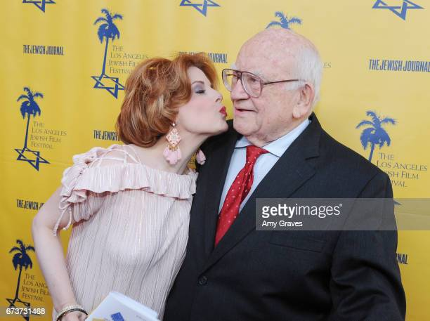 Kat Kramer and Ed Asner attend the Opening Night Gala of the LAJFF 2017 in Los Angeles on April 26 2017 in Los Angeles California