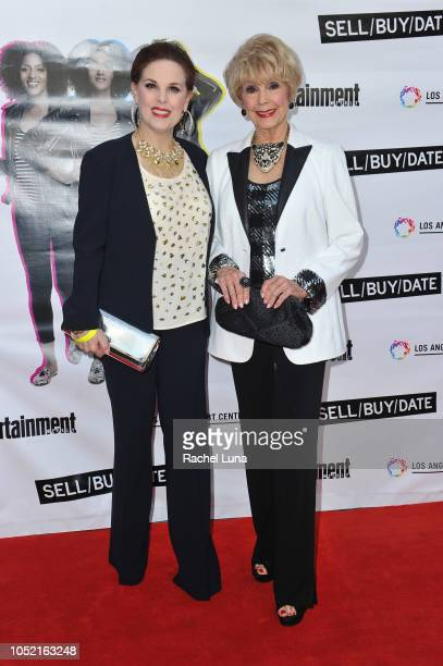 Kat Kramer and Karen Sharpe arrive at opening night of 'Sell/Buy/Date' at the Los Angeles LGBT Center on October 14 2018 in Los Angeles California