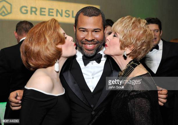 Kat Kramer Jordan Peele and Karen Kramer attend the 29th Annual Producers Guild Awards supported by GreenSlate at The Beverly Hilton Hotel on January...