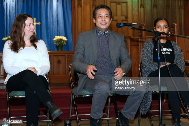 Kat McNichol Russell Yuen and Alicia K Harris attend Listen and Learn at Kingston Road United Church on December 8 2019 in Toronto Canada