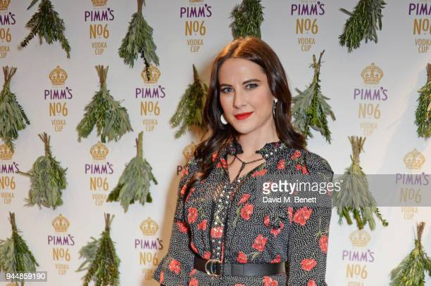 Kat Shoob attends the Pimm's No6 Vodka Cup official launch party at 12 Golden Square on April 11 2018 in London England Pimm's No6 and oysters...