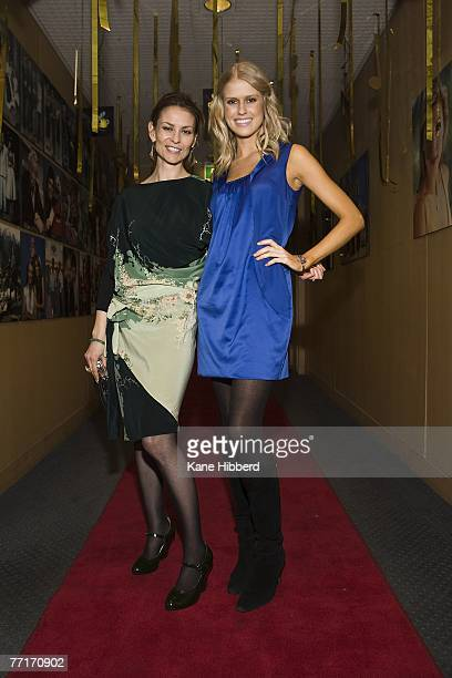 Kat Stewart and Georgia Sinclair attend the new musical game show 'The Singing Bee' at Channel Nine on October 3 2007 in Melbourne Australia The new...