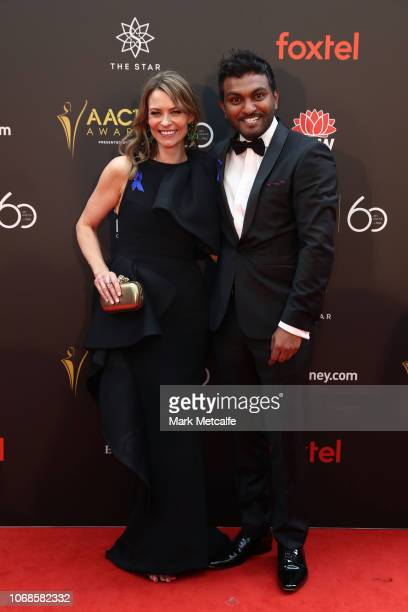 Kat Stewart and Nazeem Hussain attend the 2018 AACTA Awards Presented by Foxtel at The Star on December 5 2018 in Sydney Australia