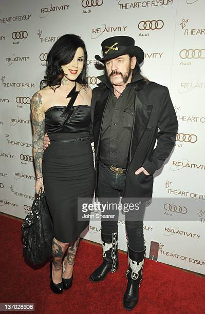 Kat Von D and musician Lemmy Kilmister arrive at Audi presents The Art of Elysium's 5th annual HEAVEN at Union Station on January 14, 2012 in Los...