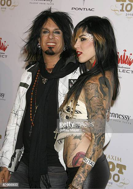 Kat Von D and Nikki Sixx arrive at the VH1 Maxim Hot 100 celebrity party on May 21 2008 at Paramount Studios in Los Angeles California