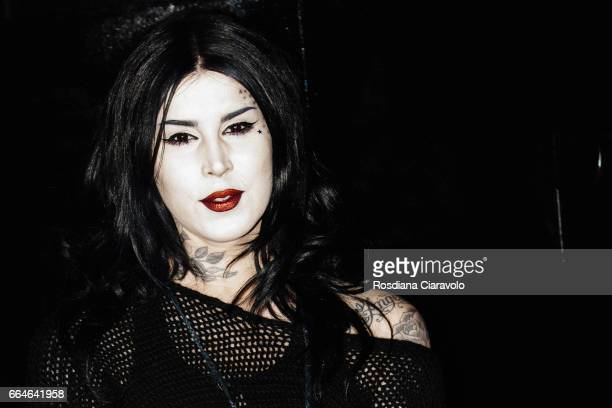 Kat Von D during the Kat Von D Inaugurates Studded Kiss Lipstick Installation In Milan at La Statale on April 4 2017 in Milan Italy