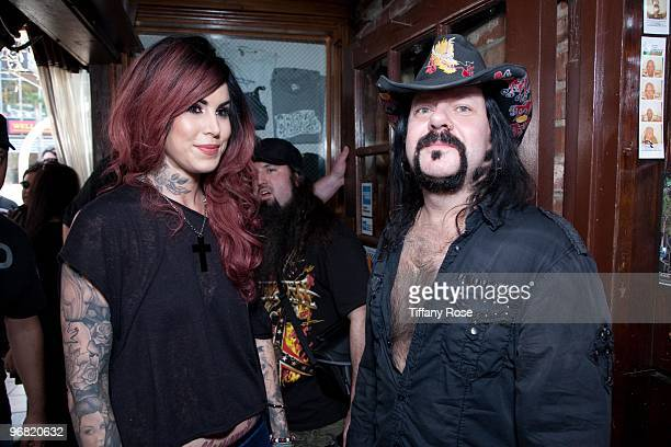 Kat Von D of LA Ink and Vinnie Paul of Pantera attend the 2nd Annual Golden Gods Awards Nominees and Press Conference at The Rainbow Bar and Grill on...
