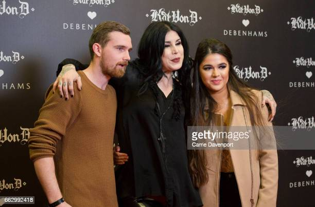 Kat Von D poses for photos with fans at Debenhams, Henry Street on April 1, 2017 in Dublin, Ireland.