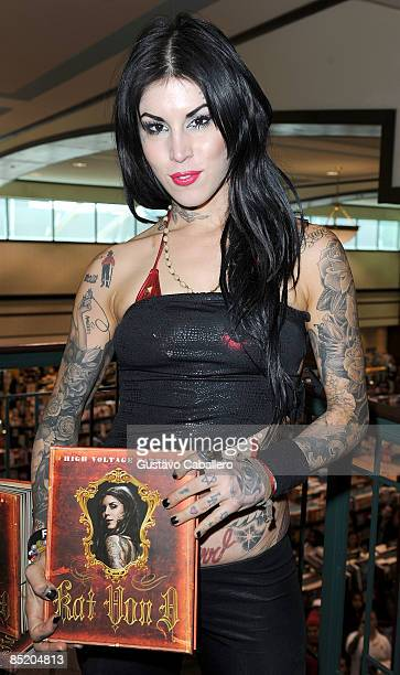 Kat Von D signs copies of her book High Voltage Tattoo at Barnes & Noble on March 3, 2009 in Kendall, Florida