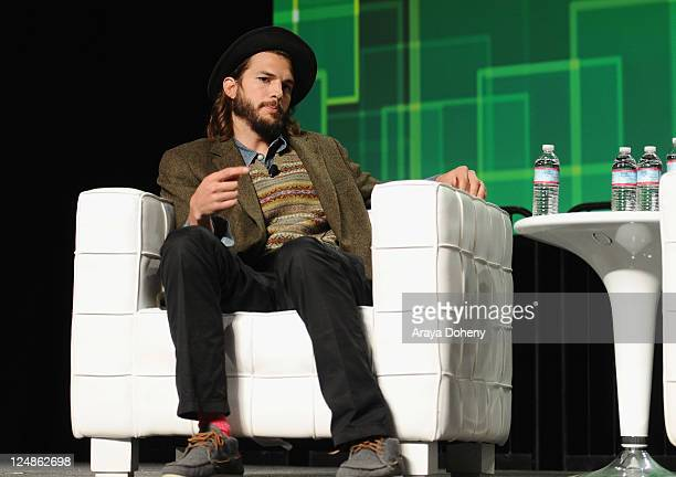 Katalyst Films CoFounder and angel investor Ashton Kutcher and TechCrunch Founder and CoEditor Michael Arrington speak onstage at Day 2 of TechCrunch...