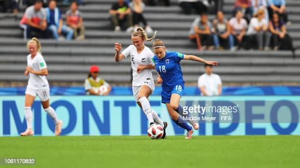 Katariina Kosola of Finland and Marisa Van Der Meer of New Zealand battle for control of the ball during the Group A match between New Zealand and...