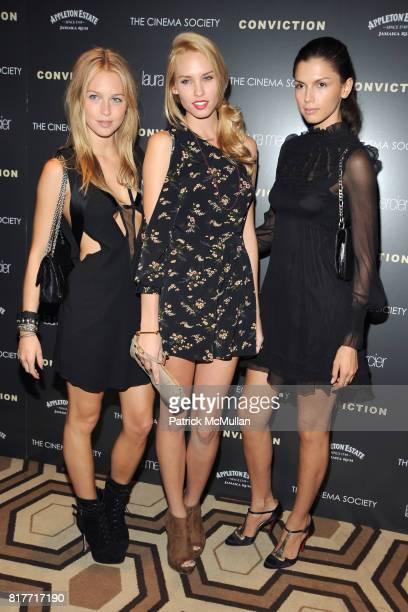 Katarina Damm Dani Dwyer and Alejandra Cata attend THE CINEMA SOCIETY LAURA MERCIER host a screening of 'CONVICTION' at Tribeca Grand Hotel on...