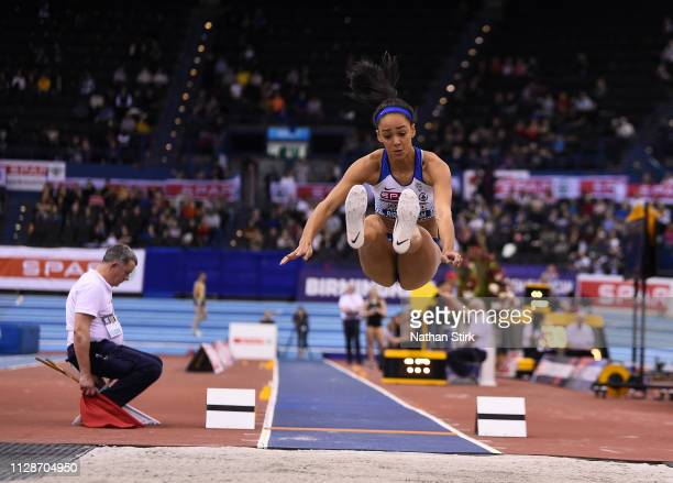 Katarina Johnson Thompson jumps during the Women's Long Jump during Day Two of the SPAR British Athletics Indoor Championships at Arena Birmingham on...