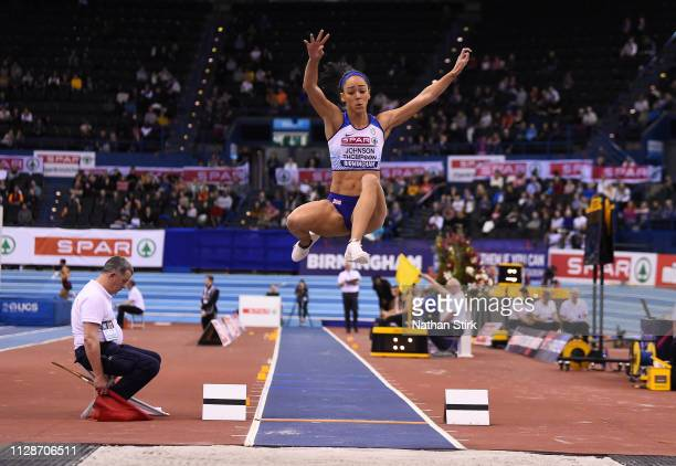 Katarina Johnson Thompson jumps during the womens long jump final during Day Two of the SPAR British Athletics Indoor Championships at Arena...