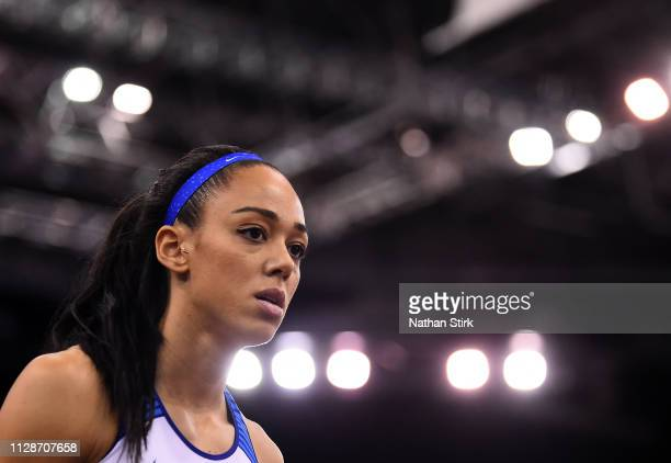 Katarina Johnson Thompson looks on during Day Two of the SPAR British Athletics Indoor Championships at Arena Birmingham on February 10 2019 in...