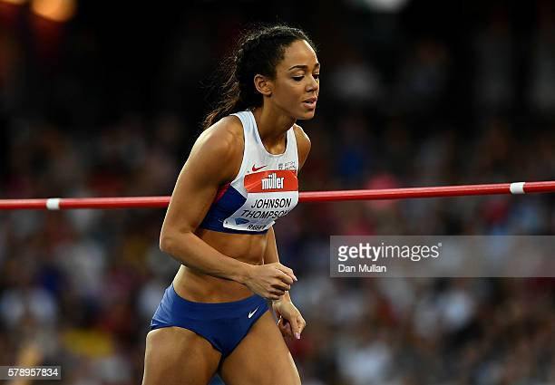 Katarina Johnson Thompson of Great Britain celebrates making a jump during the womens high jump Day One of the Muller Anniversary Games at The...