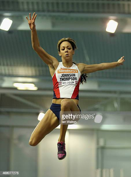 Katarina Johnson Thompson of Liverpool in action in the womans long Jump Final at the Sainsbury's British Athletics Indoor Championships on February...