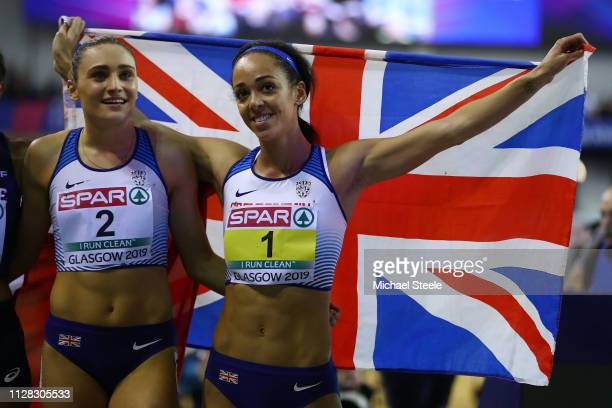 Katarina Johnson-Thompson and Niamh Emerson of Great Britain celebrate after winning gold and silver medals in the women's pentathlon during day one...