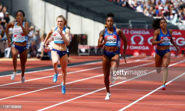 LR Katarina JohnsonThompson Beth Dobbin GBR Elaine Thompson and Mujlinga Kambundji Competing the 200M Women during Day One of the IAAF Diamond League...