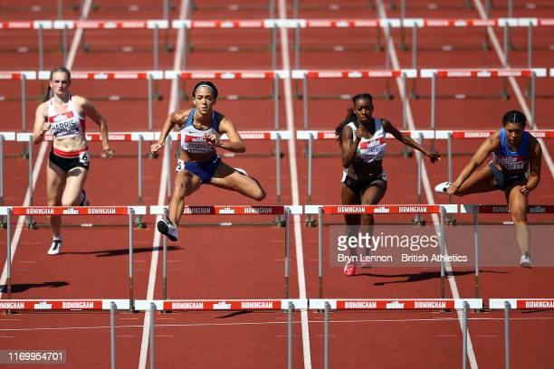 Katarina JohnsonThompson competes in a heat of the 100m hurdles during Day One of the Muller British Athletics Championships at the at Alexander...