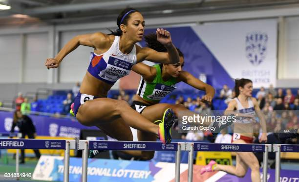 Katarina JohnsonThompson competes in the womens 60 metre hurdles during the British Athletics Indoor Team Trials 2017 at English Institute of Sport...