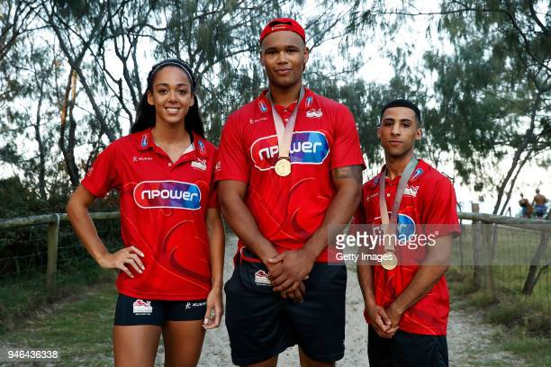 Katarina JohnsonThompson Frazer Clarke and Galal Yafai of England pose on day 11 of the Gold Coast 2018 Commonwealth Games at Gold Coast Convention...