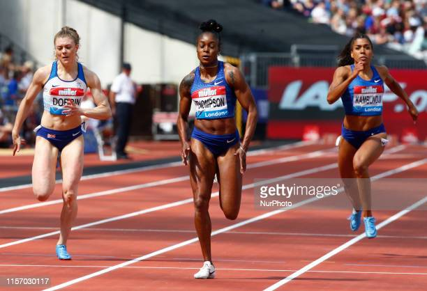 LR Katarina JohnsonThompson GBR Beth Dobbin GBR Elaine Thompson and Mujlinga Kambundji Competing the 200M Women during Day One of the IAAF Diamond...