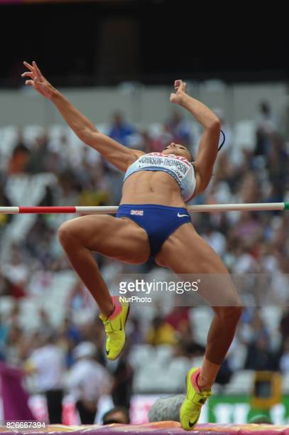 Katarina JOHNSONTHOMPSON Great Britain at Highjump Heptathlon at London Stadium in London on August 5 2017 at the 2017 IAAF World Championships...