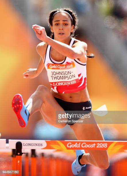 Katarina JohnsonThompson of England competes in the Women's Heptathlon 100 metres hurdles heats during athletics on day eight of the Gold Coast 2018...