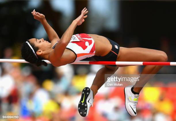 Katarina JohnsonThompson of England competes in the Women's Heptathlon High Jump during athletics on day eight of the Gold Coast 2018 Commonwealth...