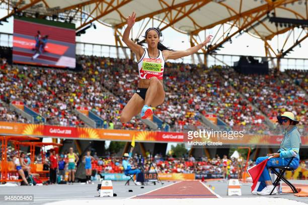 Katarina JohnsonThompson of England competes in the Women's Heptathlon Long Jump during Athletics Track Field on day nine of the Gold Coast 2018...