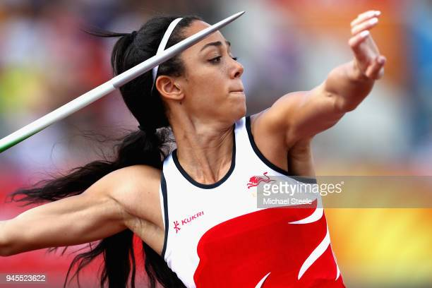 Katarina JohnsonThompson of England competes in the Women's Heptathlon Javelin during athletics on day nine of the Gold Coast 2018 Commonwealth Games...