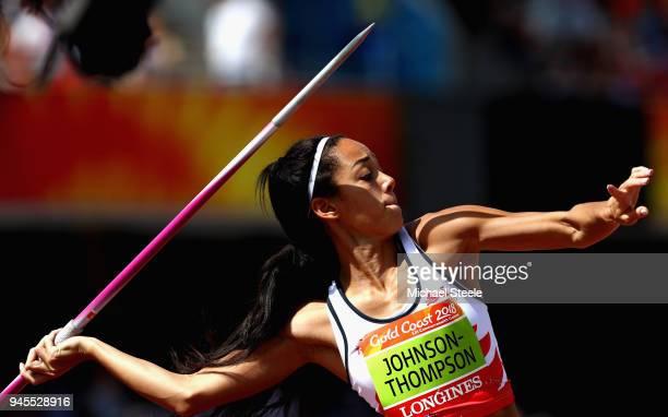 Katarina Johnson-Thompson of England competes in the Women's Heptathlon Javelin during athletics on day nine of the Gold Coast 2018 Commonwealth...