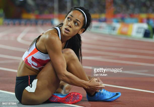 Katarina JohnsonThompson of England looks on after the Women's Heptathlon 200 metres heats during athletics on day eight of the Gold Coast 2018...
