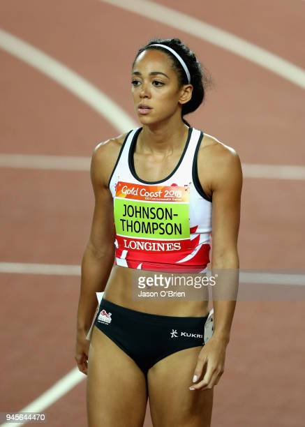 Katarina JohnsonThompson of England looks on prior to the Women's Heptathlon 800 metres during athletics on day nine of the Gold Coast 2018...