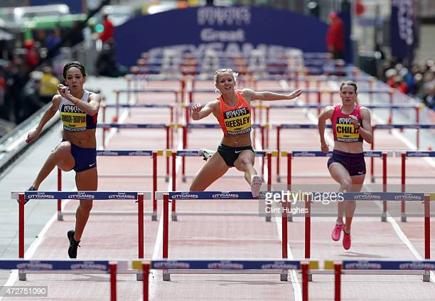 Katarina JohnsonThompson of Great Britain and Meghan Beesley of Great Britain compete in the Women's 200m Hurdles during the Great City Games on May...