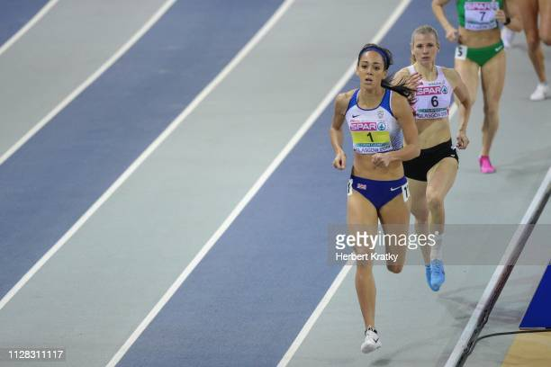 Katarina JohnsonThompson of Great Britain and Verena Preiner of Austria compete in the 800m event of the women's pentathlon on March 1 2019 in...