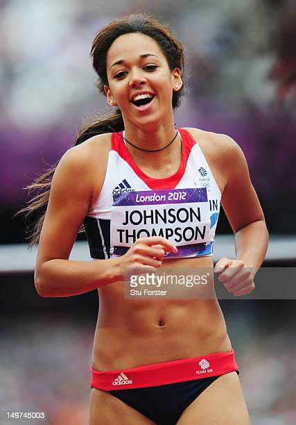 Katarina JohnsonThompson of Great Britain celebrates a succesful jump in the Women's Heptathlon High Jump on Day 7 of the London 2012 Olympic Games...