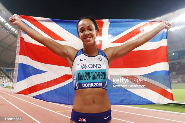 Katarina JohnsonThompson of Great Britain celebrates after the 800 Metres and winning gold in the Women's Heptathlon during day seven of 17th IAAF...