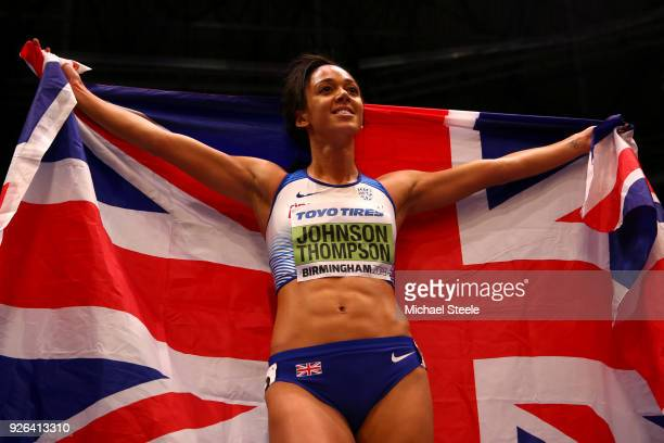 Katarina JohnsonThompson of Great Britain celebrates after winning the 800 Metres Womens Pentathlon during the IAAF World Indoor Championships on Day...