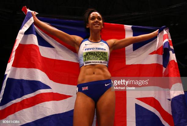Katarina Johnson-Thompson of Great Britain celebrates after winning the 800 Metres Womens Pentathlon during the IAAF World Indoor Championships on...