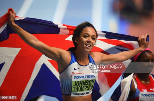 Katarina JohnsonThompson of Great Britain celebrates winning the Women's Pentathlon during Day Two of the IAAF World Indoor Championships at Arena...