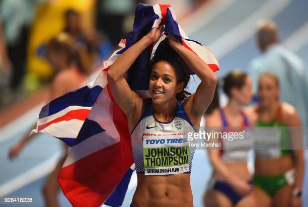 Katarina JohnsonThompson of Great Britain celebtaes winning the Women's Pentathlon during Day Two of the IAAF World Indoor Championships at Arena...