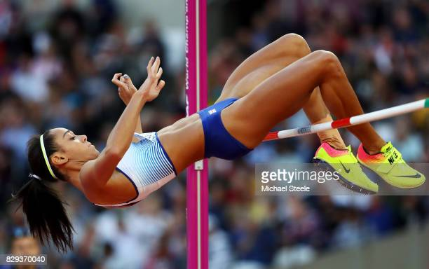Katarina JohnsonThompson of Great Britain clears the bar as she competes during the womens high jump Qualification during day seven of the 16th IAAF...