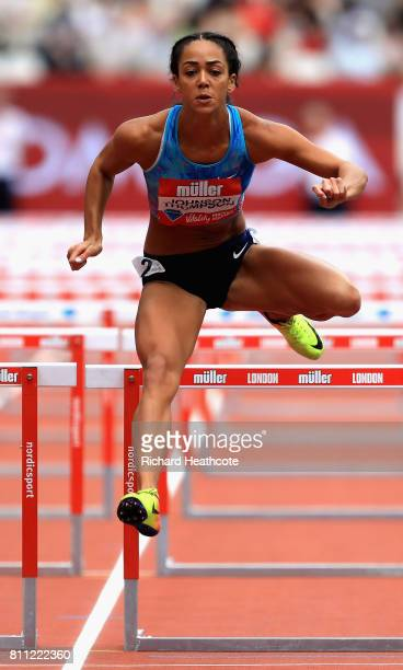 Katarina JohnsonThompson of Great Britain competes during the 1st heat of the womens 100m hurdles during the Muller Anniversary Games at London...