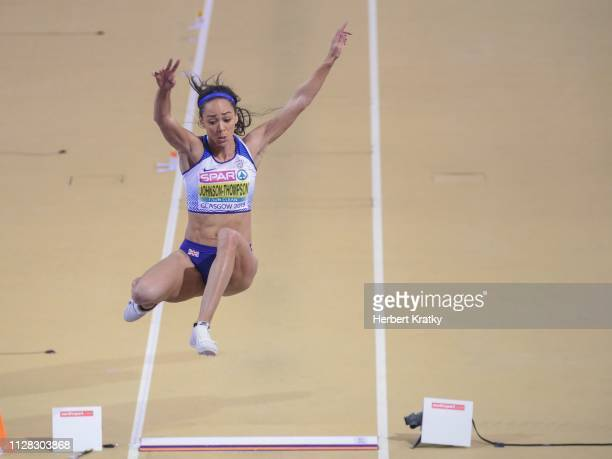 Katarina JohnsonThompson of Great Britain competes in the high jump event of the women's pentathlon on March 1 2019 in Glasgow United Kingdom