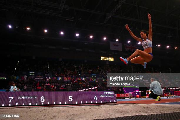 Katarina JohnsonThompson of Great Britain competes in the Long Jump Womens Pentathlon during the IAAF World Indoor Championships on Day Two at Arena...
