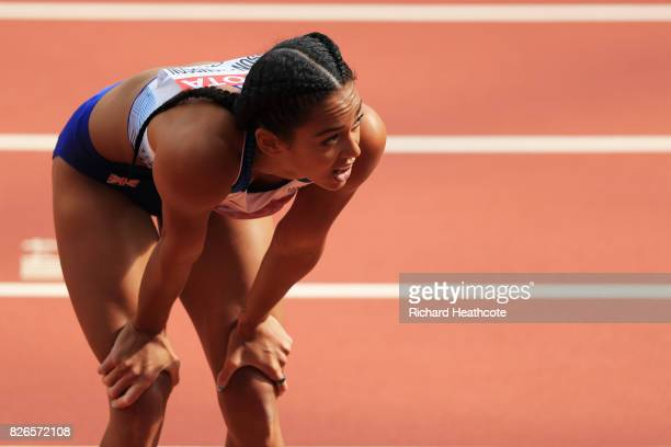 Katarina JohnsonThompson of Great Britain competes in the Women's Heptathlon 100 metres hurdles during day two of the 16th IAAF World Athletics...